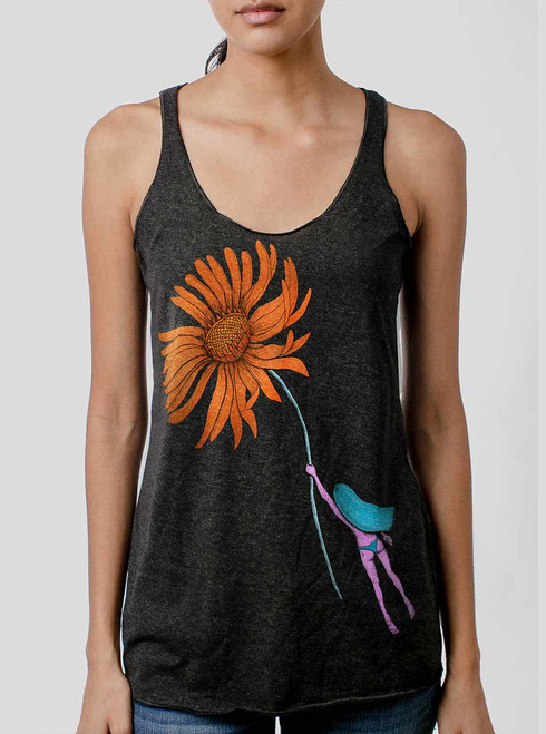 Flower Power - Multicolor on Heather Black Triblend Womens Racerback Tank Top