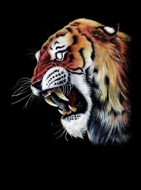 0fb6ce17084a4 ... Tiger s Head - Multicolor on Heather Black Triblend Womens Racerback  Tank Top