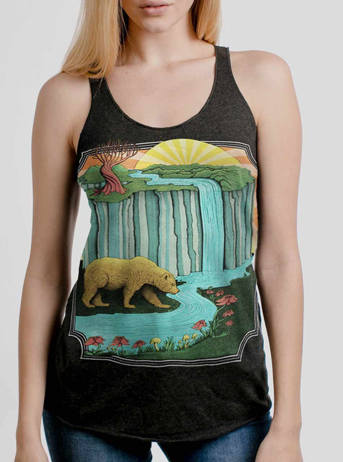 Bear Country - Multicolor on Heather Black Triblend Womens Racerback Tank Top