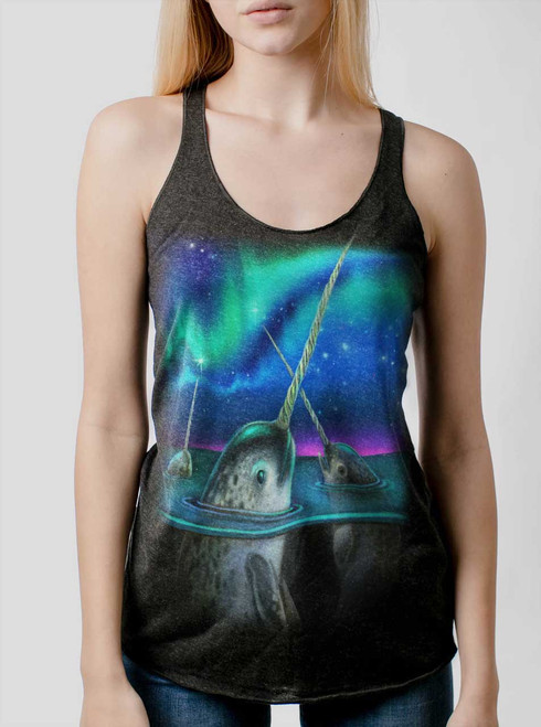 Narwhals - Multicolor on Heather Black Triblend Womens Racerback Tank Top