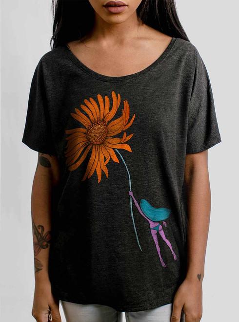 Flower Power - Multicolor on Heather Black Triblend Womens Dolman T Shirt