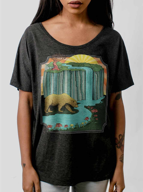 Bear Country - Multicolor on Heather Black Triblend Womens Dolman T Shirt