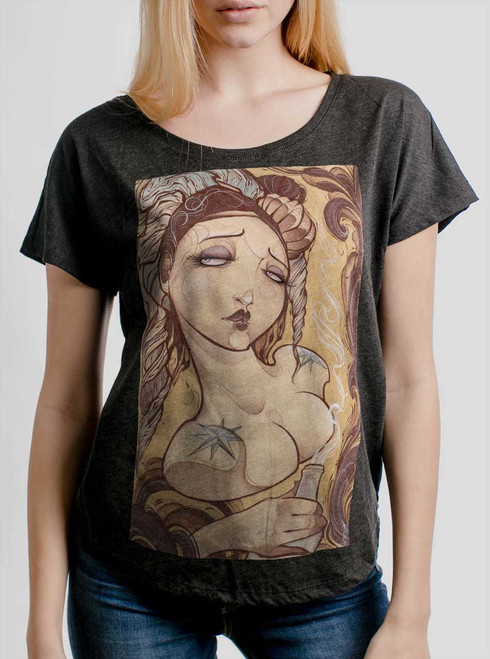Lady with the Bottle - Multicolor on Heather Black Triblend Womens Dolman T Shirt