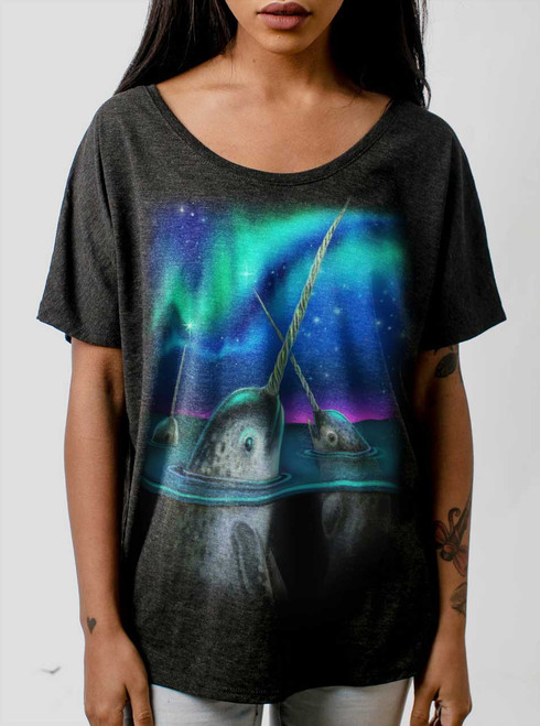 Narwhals - Multicolor on Heather Black Triblend Womens Dolman T Shirt