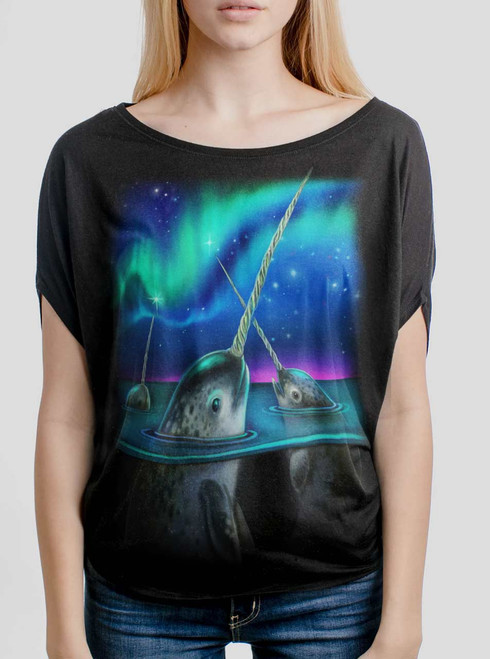 Narwhals - Multicolor on Black Women's Circle Top