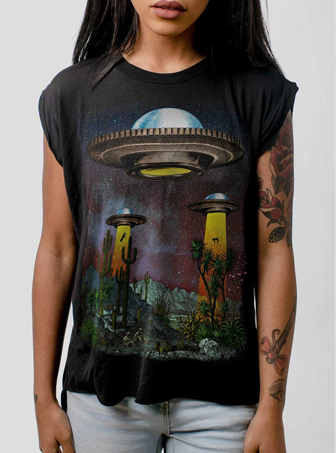 UFOs - Multicolor on Black Women's Rolled Cuff T-Shirt