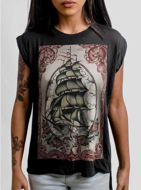 Clipper Ship - Multicolor on Black Women's Rolled Cuff T-Shirt