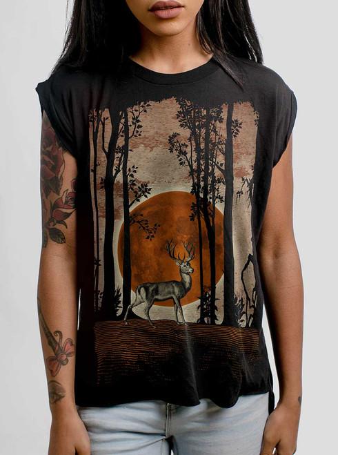 Buck Moon - Multicolor on Black Women's Rolled Cuff T-Shirt