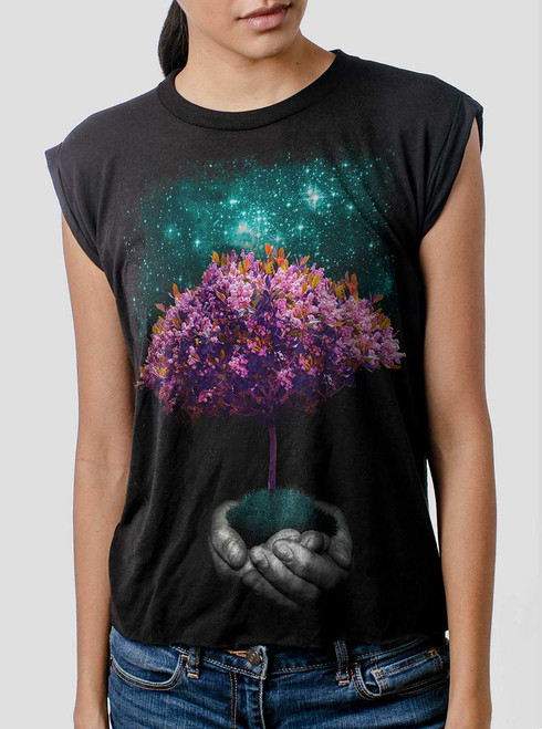 Creation - Multicolor on Black Women's Rolled Cuff T-Shirt