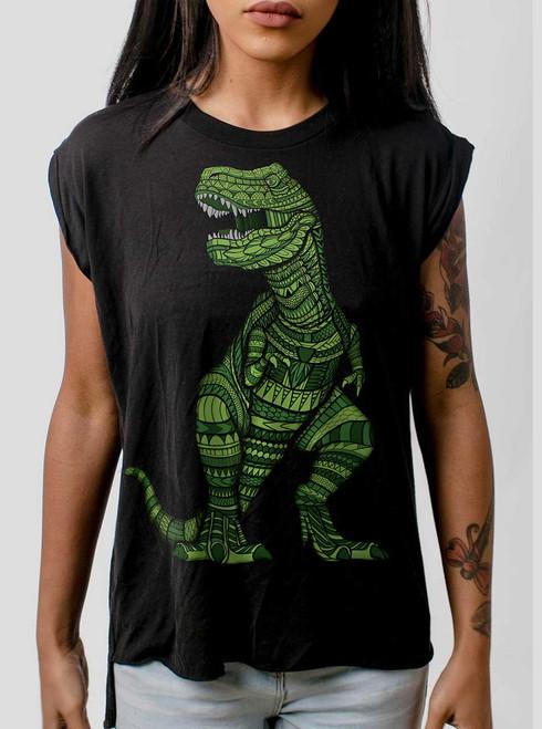 T Rex - Multicolor on Black Women's Rolled Cuff T-Shirt