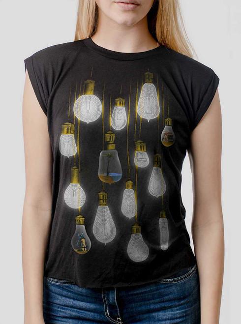 Light Bulbs - Multicolor on Black Women's Rolled Cuff T-Shirt