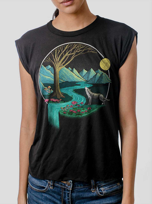 Spirit Animal - Multicolor on Black Women's Rolled Cuff T-Shirt