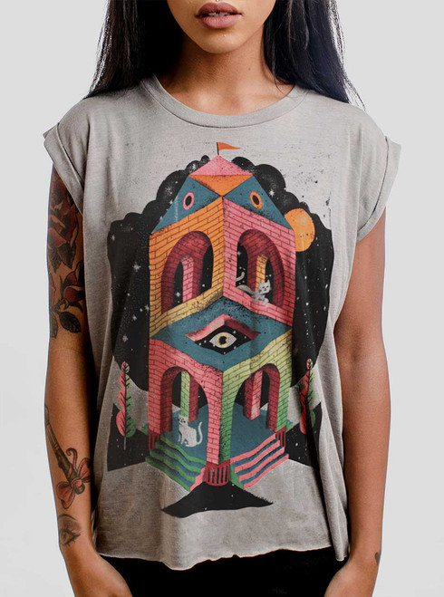 Space Cathedral - Multicolor on Heather Stone Women's Rolled Cuff T-Shirt