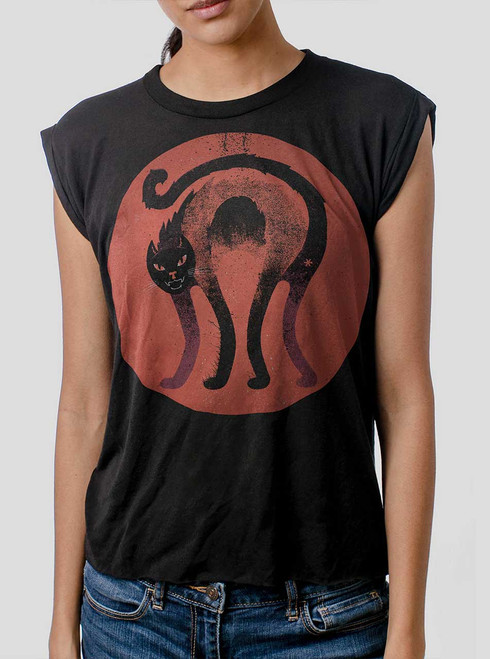Bad Cat - Multicolor on Black Women's Rolled Cuff T-Shirt