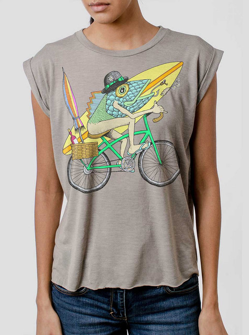 Fish Man - Multicolor on Heather Stone Women's Rolled Cuff T-Shirt
