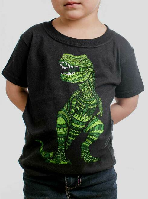 T Rex - Multicolor on Black Toddler T-Shirt