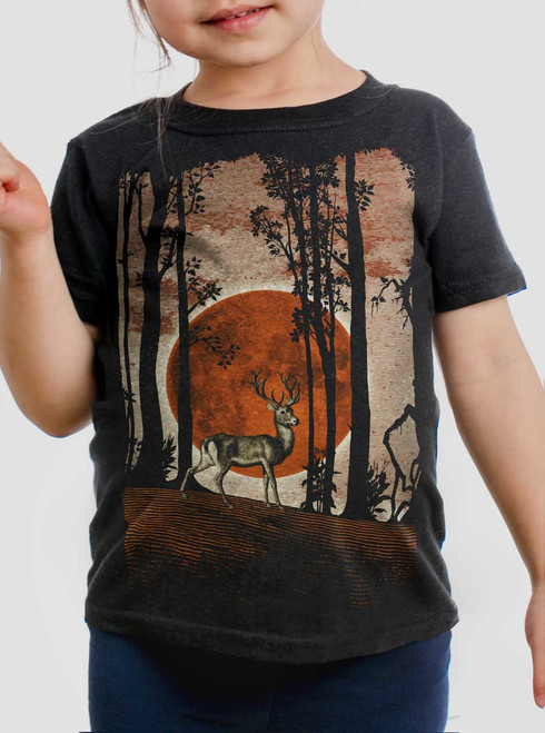 Buck Moon - Multicolor on Black Toddler T-Shirt