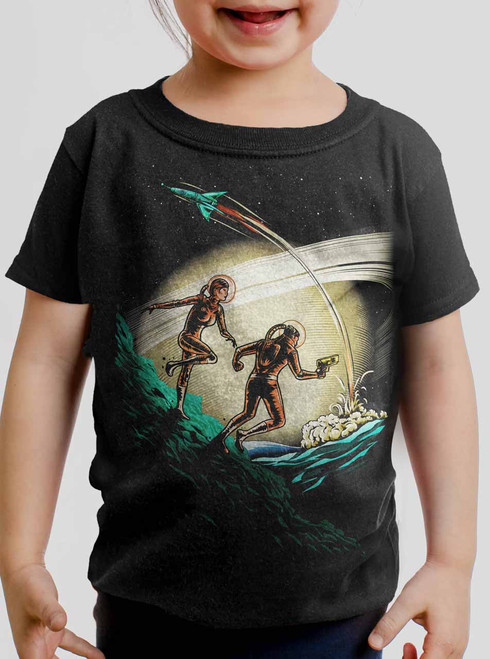 Space Travelers - Multicolor on Black Toddler T-Shirt