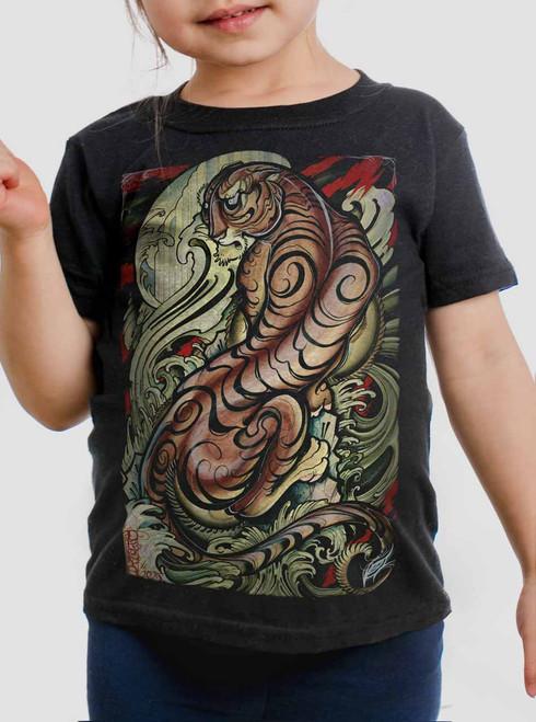 Tigris - Multicolor on Black Toddler T-Shirt