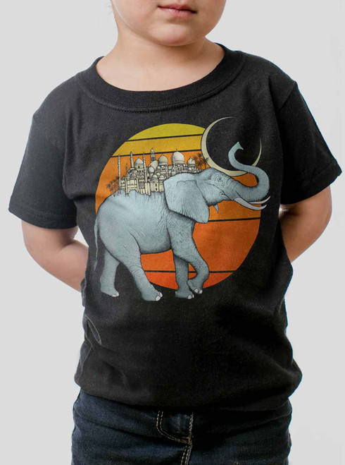 Elephant City - Multicolor on Black Toddler T-Shirt