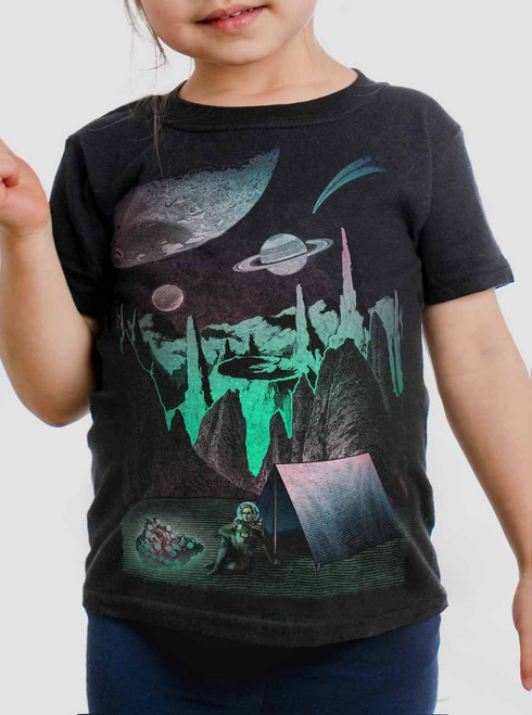 Space Camp - Multicolor on Black Toddler T-Shirt