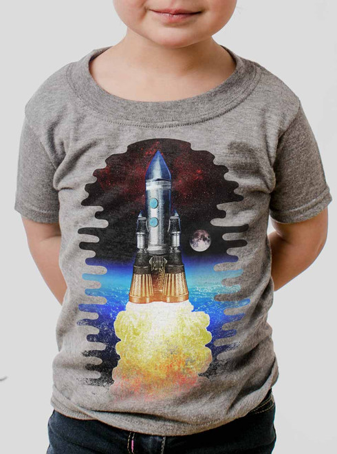 Spaceship - Multicolor on Heather Grey Toddler T-Shirt