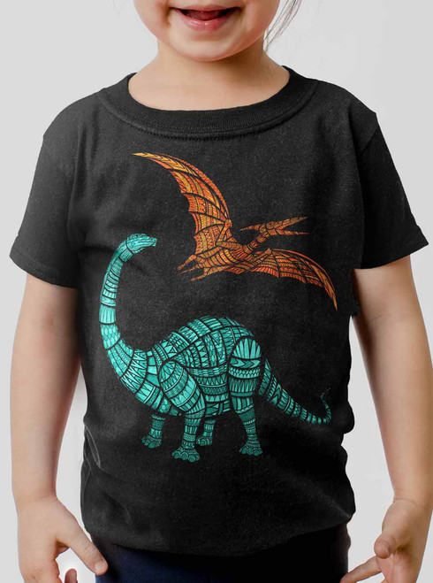 Dinos - Multicolor on Black Toddler T-Shirt