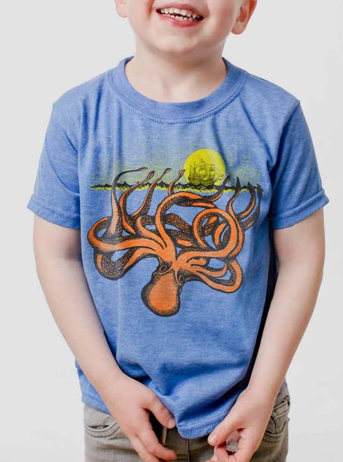 The Kraken - Multicolor on Heather Blue Toddler T-Shirt
