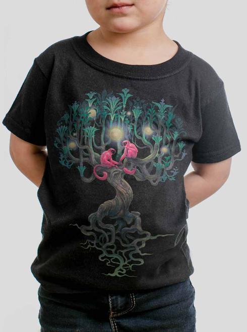 Pink Monkeys - Multicolor on Black Toddler T-Shirt