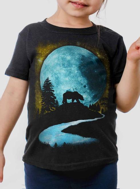 Bear Moon - Multicolor on Black Toddler T-Shirt