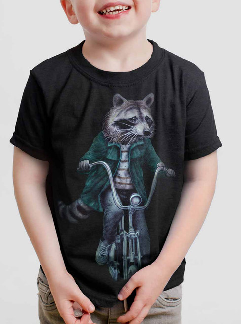 Raccoon - Multicolor on Black Toddler T-Shirt