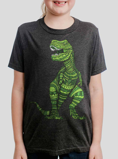 T Rex - Multicolor on Heather Black Triblend Youth T-Shirt