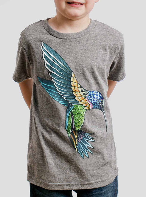 Hummingbird - Multicolor on Heather Grey Triblend Youth T-Shirt