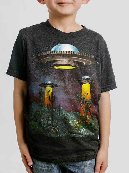 UFOs - Multicolor on Heather Black Triblend Youth T-Shirt