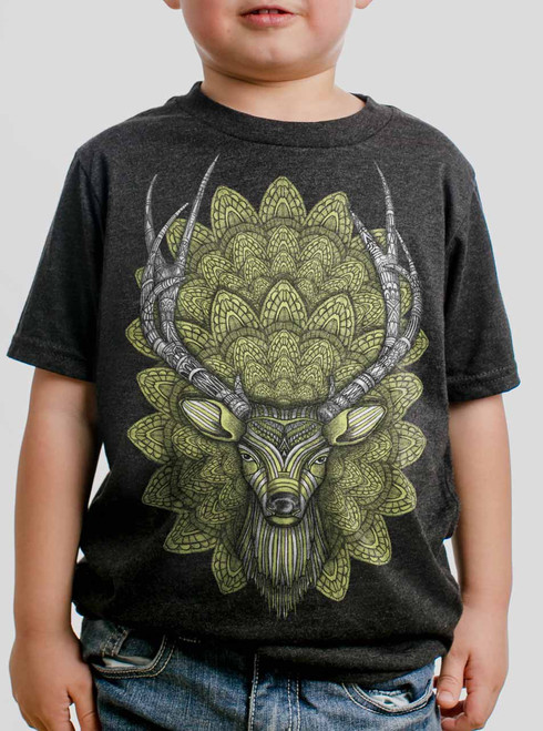 Buck Head - Multicolor on Heather Black Triblend Youth T-Shirt