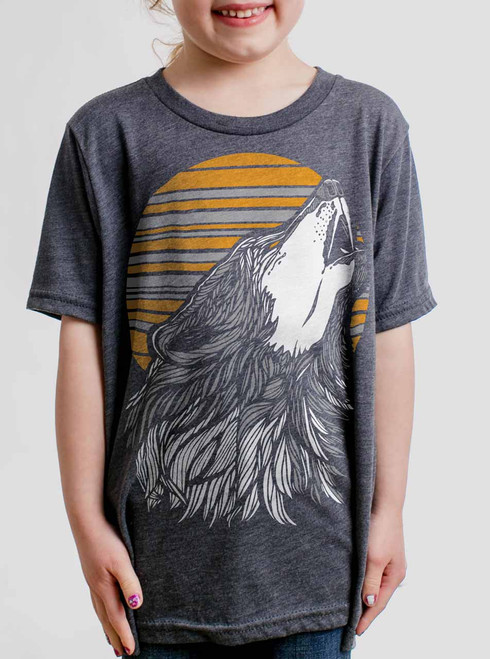 Wolf - Multicolor on Heather Navy Triblend Youth T-Shirt