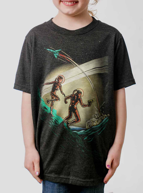 Space Travelers - Multicolor on Heather Black Triblend Youth T-Shirt