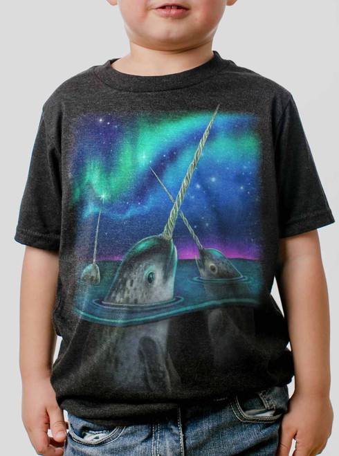 Narwhals - Multicolor on Heather Black Triblend Youth T-Shirt