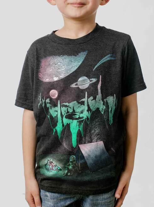 Space Camp - Multicolor on Heather Black Triblend Youth T-Shirt