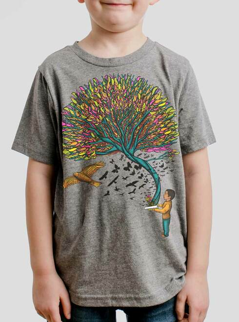 Imagination - Multicolor on Heather Grey Triblend Youth T-Shirt