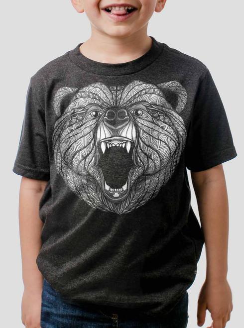 Bear - White on Heather Black Triblend Youth T-Shirt