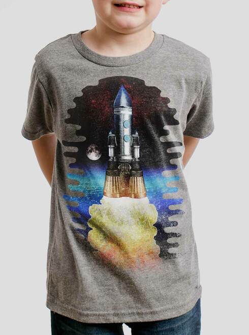 Spaceship - Multicolor on Heather Grey Triblend Youth T-Shirt