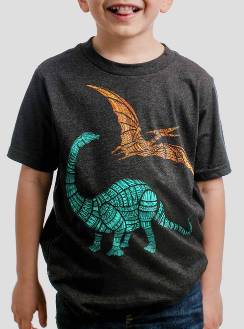 Dinos - Multicolor on Heather Black Triblend Youth T-Shirt