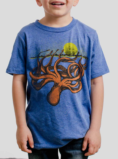 The Kraken - Multicolor on Heather Royal Triblend Youth T-Shirt