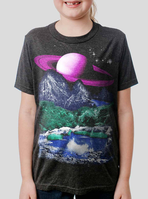 Alien World - Multicolor on Heather Black Triblend Youth T-Shirt