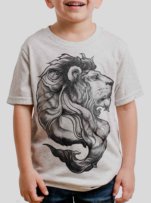 Lion - Black on Heather White Triblend Youth T-Shirt