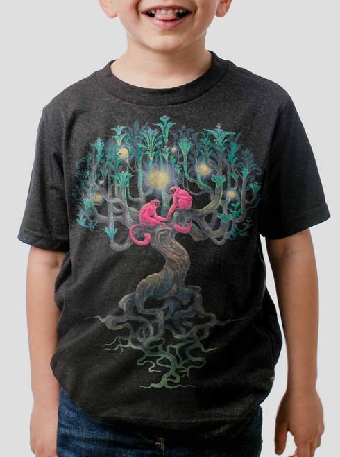 Pink Monkeys - Multicolor on Heather Black Triblend Youth T-Shirt