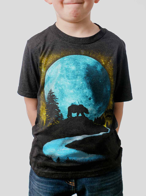 Bear Moon - Multicolor on Heather Black Triblend Youth T-Shirt