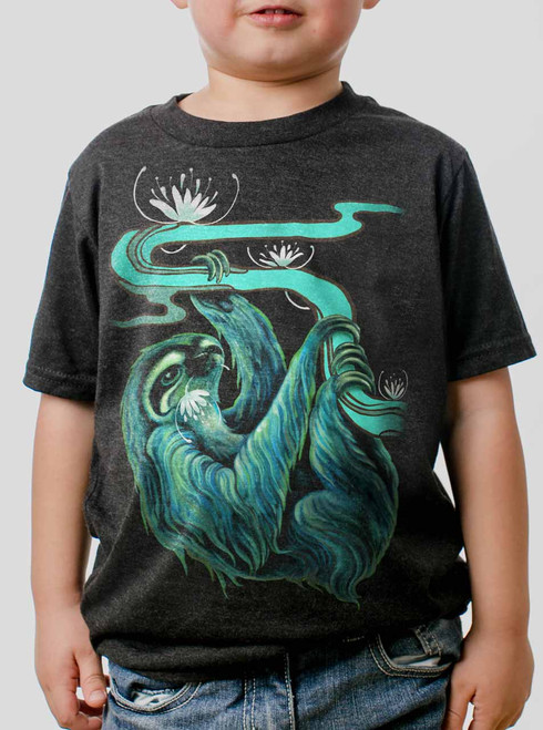 Sloth - Multicolor on Heather Black Triblend Youth T-Shirt