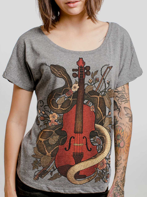Rattlesnake Violin - Multicolor on Heather Grey Triblend Womens Dolman T Shirt